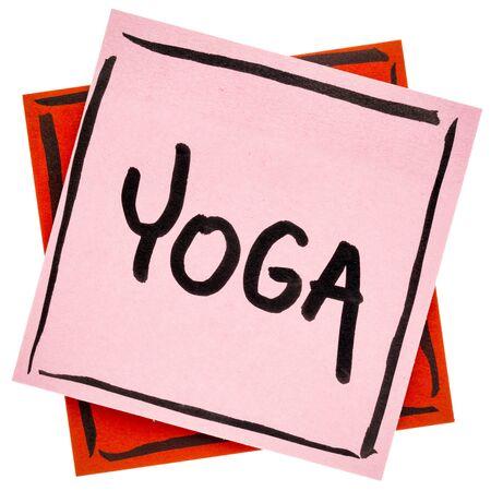 yogawoord - handschrift in zwarte inkt op een geïsoleerde kleverige nota