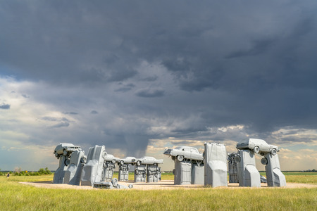 ALLIANCE, NE, USA - July 9, 2017:  Carhenge - famous car sculpture  created by Jim Reinders, a modern replica of  Englands Stonehenge using old cars.