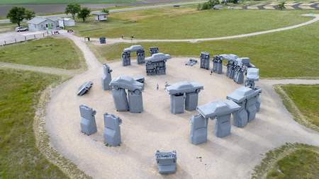 ALLIANCE, NE, USA - July 9, 2017:  Carhenge - famous car sculpture  created by Jim Reinders, a modern replica of  Englands Stonehenge using old cars., aerial view