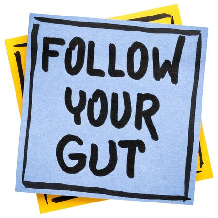 Follow your gut advice or reminder - handwriting on an isolated sticky note Foto de archivo