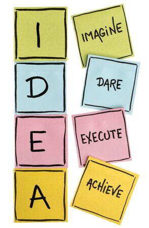 idea acronym (imagine, dare, execute, achieve) - motivation concept - handwriting in black on colorful sticky notes isolated on white
