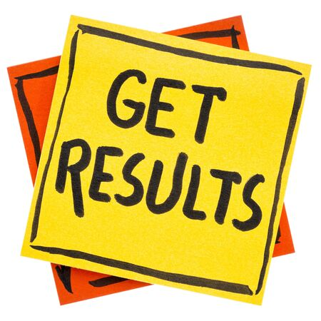Get results reminder or advice- handwriting in black ink on an isolated sticky note