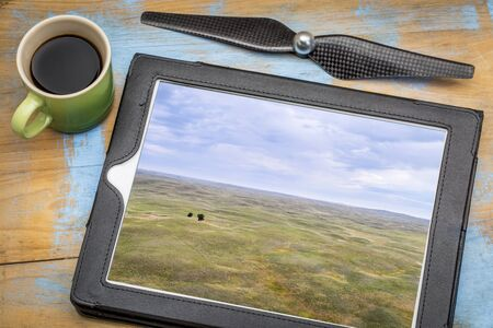 sandhills: landscape of Nebraska Sandhills with two lonely trees, reviewing aerial image on a digital tablet with a cup of coffee Stock Photo