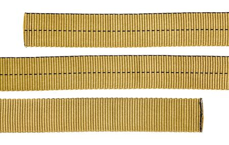nylon tubular webbing for climbing, mountaineering, industrial work, and rescue, three pieces isolated on white