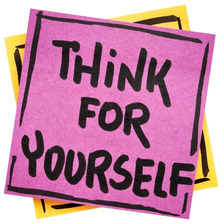 Think for yourself reminder or advice - handwriting on a sticky note against rustic wood- handwriting in black ink on an isolated sticky note Stock fotó