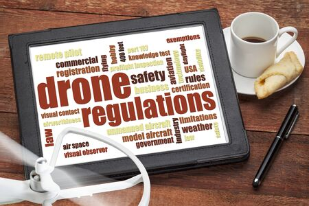 drone regulations (USA related) word cloud on a digital tablet with a cup of coffee and rotating propeller Reklamní fotografie