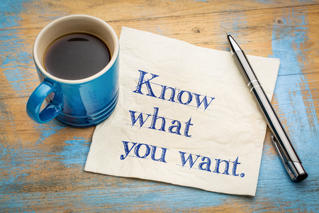 Know what you want advice or reminder - handwriting on a napkin with a cup of espresso coffee Stockfoto