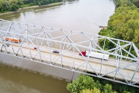 Missouri River bridge and I-70 highway traffic near Rocheport, MO - aerial view