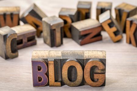 blog word abstract in letterpress wood type printing blocks