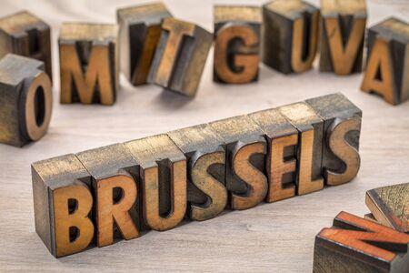 Brussels word abstract in vintage letterpress wood type printing blocks