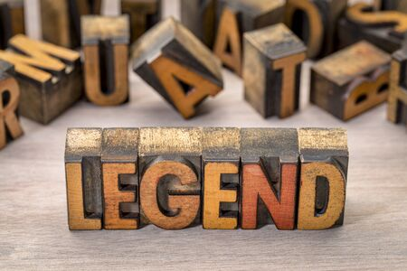 legend word abstract in vintage letterpress wood type printing blocks stained by color inks