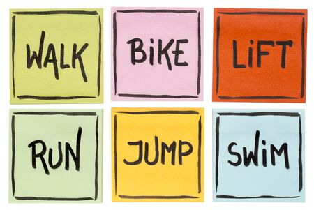 walk, bike, lift, run, jump, swim - fitness or cross training concept - handwriting on sticky notes isolated on white