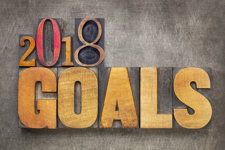 2018 goals - New Year resolution concept - word abstract in vintage letterpress wood type blocks against grunge metal background Stock Photo