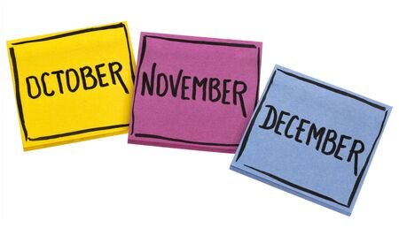 October, November and December - handwriting in black ink on isolated sticky notes