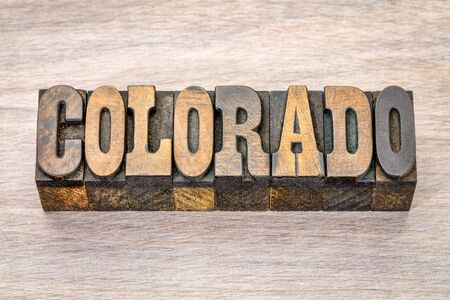 Colorado -  word in vintage rustic letterpress wood type - French Clarendon font popular in western movies and memorabilia Stock Photo