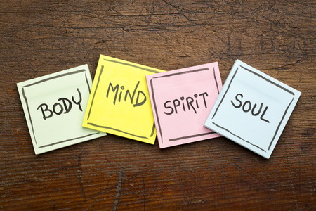 body, mind, spirit and soul - concept - handwriting in black ink on sticky notes against rustic wood