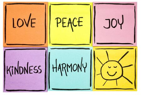 love,  peace, joy, kindness, and harmony with sun smiley -  isolated set of sticky notes with inspirational words Stock Photo