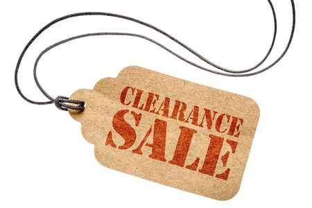 clearance sale sign  - a paper price tag with twine isolated on white- shopping concept Stock Photo