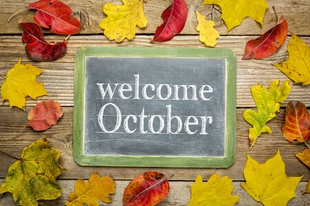Welcome October on a slate blackboard against rustic weathered wood planks with colorful dried leaves