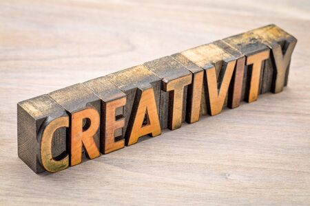 creativity - word abstract  in vintage wood letterpress printing blocks