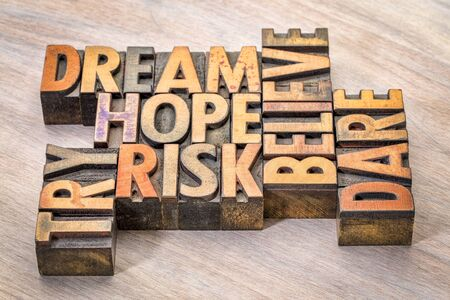 dream, hope, believe, dare, risk and try - inspirational word abstract in vintage letterpress wood type printing blocks Stock Photo - 86871227