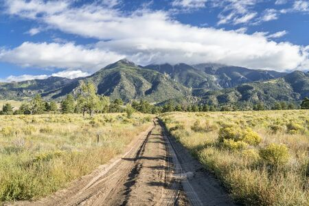 sandy Medano Pass road in Great Sand Dunes National Park and Preserve, late summer scenery