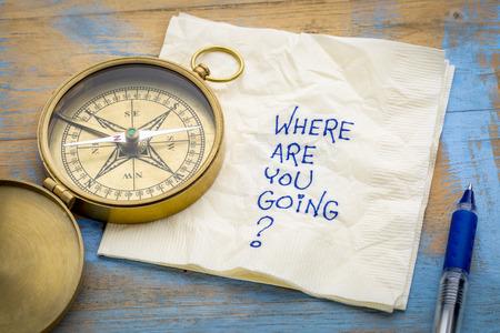 A dónde vas? -Una pregunta esencial o búsqueda de un propósito: una servilleta con un compás de bronce. Foto de archivo - 87248806