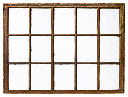ビンテージのパネル、グランジ、汚いガラスのサッシ窓 (15 ペイン)、白に分離