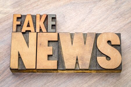 fake news word abstract in vintage letterpress wood type Stock Photo