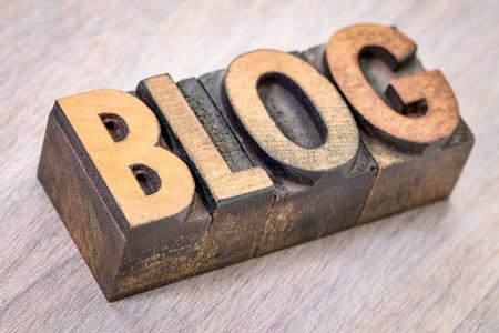 blog word abstract in vintage letterpress printing blocks against grained wood