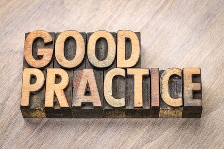 good practice word abstract in vintage letterpress wood type