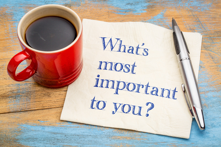 What is important to you? handwriting on a napkin with a cup of coffee