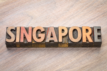 Singapore word abstract in vintage letterpress wood type Stock Photo