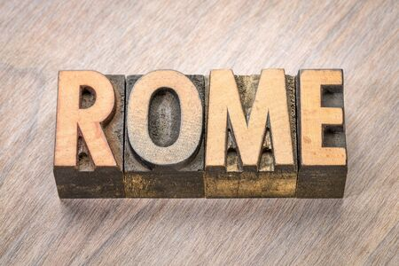 Rome word abstract in vintage letterpress wood type Stock Photo