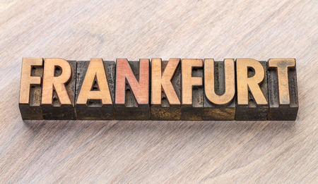 Frankfurt word abstract in vintage letterpress wood type