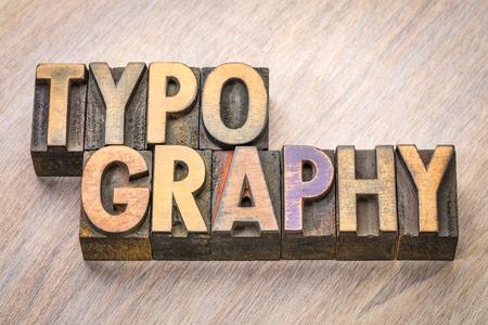 typografie woord abstract in vintage boekdruk houtsoort Stockfoto