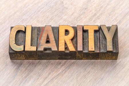 clarity  word abstract in vintage letterpress wood type Фото со стока