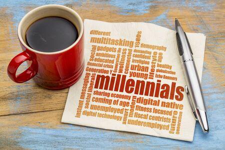 ナプキンによるミレニアル世代のワードクラウドコーヒー1杯-人口動態の概念