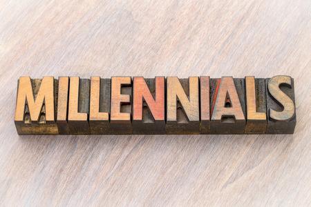 millennials (millennial generation) word abstract in vintage letterpress wood type