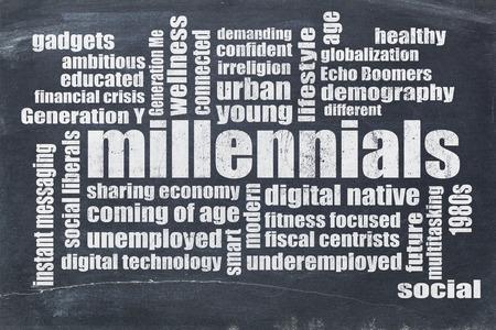 新世紀世代単語雲ヴィンテージ黒板に-人口統計学の概念 写真素材