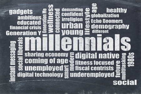 Millennials generation word cloud on a vintage blackboard - demography concept