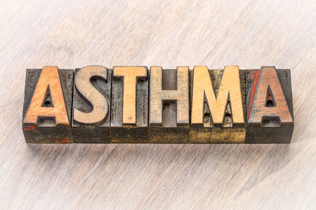 Asthma word abstract in vintage letterpress wood type Stock Photo