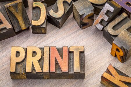 PRINT word abstract in vintage letterpress wood type printing blocks