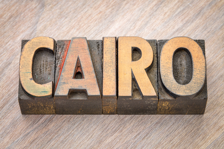 CAIRO word abstract in vintage letterpress wood type printing blocks