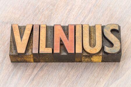 Vilnius word abstract in vintage letterpress wood type printing blocks Reklamní fotografie