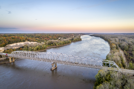Missouri River bridge and I-70 highway near Rocheport, MO (Taylors Landing) - aerial view in late October evening