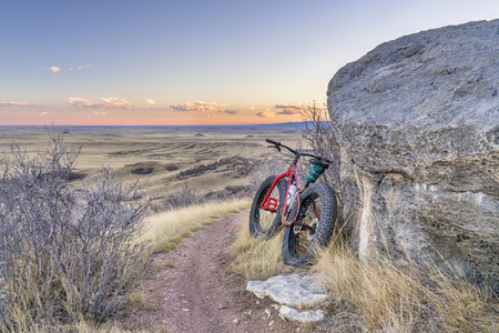 Dusk over Colorado prairie and foothills from a fat bike ride in Soapstone Prairie Natural Area, fall scenery