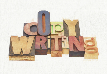 copywriting word  -  text in mixed letterpress wood type printing blocks, a photo with a digital painting effect applied