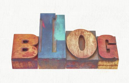 blog word abstract in mixed letterpress wood type printing blocks, a photo with a digital painting effect applied
