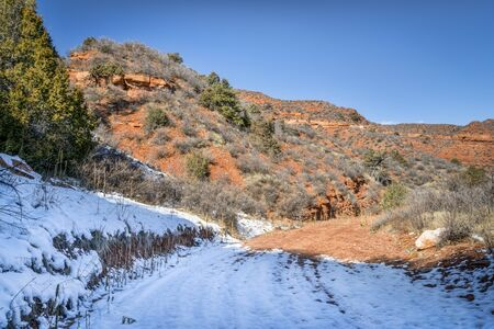 Ruby Wash - canyon trail in winter scenery, Red Mountain Open Space in northern Colorado